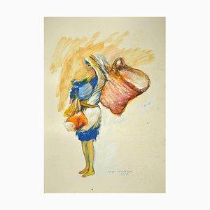 Sergio Barletta - Woman with Baskets - Original Mixed Media - 1995