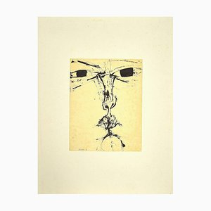 Sergio Barletta - the Face - Original China Ink Drawing - 1958