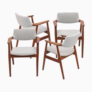 Danish Dining Armchairs by Svend Eriksen in Dedar Bouclé Fabric, Set of 4