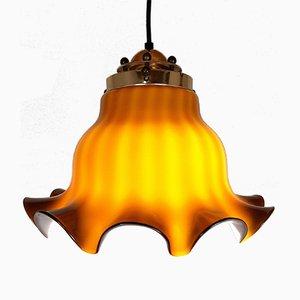 Lampe à Suspension en Verre Marron, 1970s