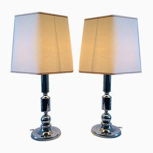 Chrome Metal Table Lamp, 1970s, Set of 2