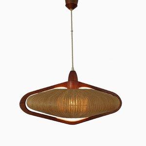 Teak and Sisal Ceiling Lamp from Temde, 1960s