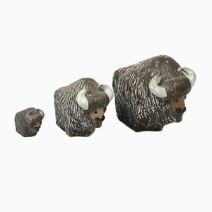 Vintage Ceramic Bisons by Göran Andersson for Upsala Ekeby, Sweden, Set of 3