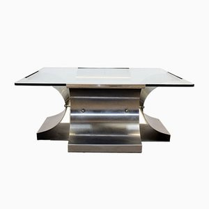 French Steel & Glass Coffee Table by François Monnet for Kappa, 1970s
