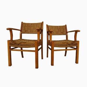Moderne dänische Armlehnstühle aus Buchenholz & Seegras von Frits Schlegel für Fritz Hansen, 1940er, 2er Set