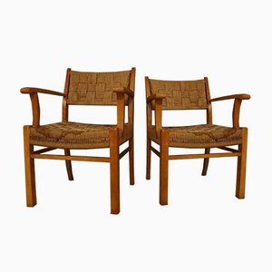 Modernist Danish Beechwood & Seagrass Armchairs by Frits Schlegel for Fritz Hansen, 1940s, Set of 2