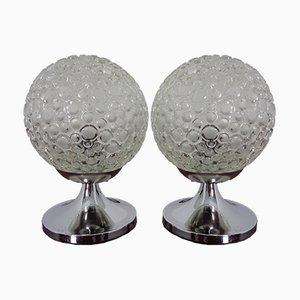 Lampade da tavolo in vetro con bolle, set di 2, anni '70