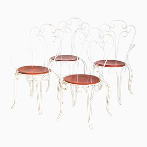 Iron Dining Chairs, 1970s, France, Set of 4