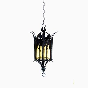 Italian Neo-Gothic Wrought Iron Ceiling Lamp, 1900s