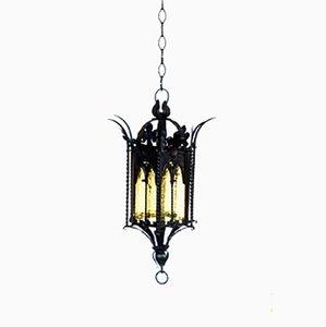Italienische Neo-Gothic Deckenlampe aus Schmiedeeisen, 1900er