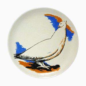 Italian Ceramic Plate by Domenico Purificato for Centro D'Arte Mercurio, 1970s