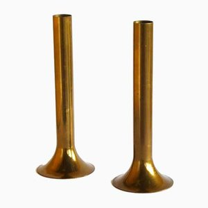 Modernist Italian Brass Vases, 1970s, Set of 2