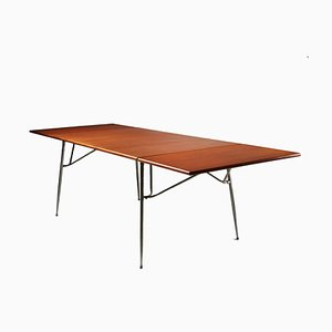 Danish Teak & Chromed Steel 206 Dining Table by Børge Mogensen for Søborg Møbelfabrik, 1950s