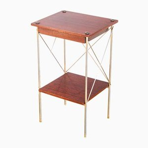 Iron and Teak Side Table, France, 1960s