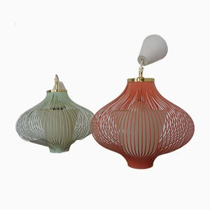 Filigree Spaghetti Ceiling Lamps, 1950s, Set of 2