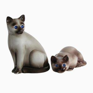 Keramik Katzenfiguren von Elpa, Alcobada Portugal, 2er Set