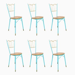 Brass, Metal and Wood Tiffany Dining Chairs, 1950s, Set of 6