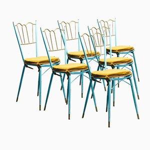Sedie da pranzo Tiffany in ottone, metallo e legno, anni '50, set di 6