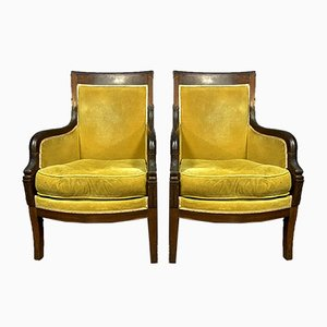 Empire Period Mahogany Lounge Chairs, 1810, Set of 2