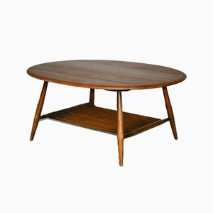 Oval Elm Wood Coffee Table by Lucian Ercolani for Ercol
