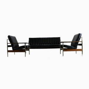 Rosewood and Black Leather 1001 Sofas by Sven Ivar Dysthe for Dokka Møbler, 1960s, Set of 3