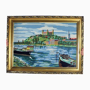 Large Vintage Decorative Wall Tapestry with Art Picture of Bratislava Scenery, Czechoslovakia, 1960s