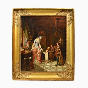 Antique Painting, Queen and Children, Portrait Painting, Oil Painting on Canvas, 19th Century