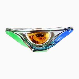 Large Glass Bowl by Frantisek Zemek for Mstisov, 1960s