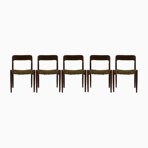 Danish Teak Model 75 Dining Chairs by Niels Moller, 1954, Set of 5