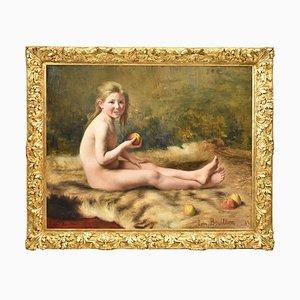 Pittura antica, Ritratto di giovane donna, Francia. Dipinto ad olio su tela, Francia, XIX secolo