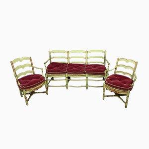 Antique Provençal Wood Lounge Chairs, Set of 3