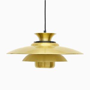 Vintage Golden Brass Ceiling Lamp by Lyskaer, 1970s