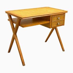 Mid-Century Schreibtisch aus Korbgeflecht & Buchenholz, 1960er