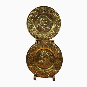Antique Brass Decorative Medallions, Set of 2