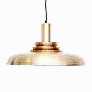 Danish Golden Brass Ceiling Lamp, 1960s