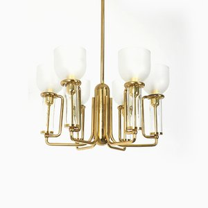 Italian Brass and Glass Chandelier, 1970s