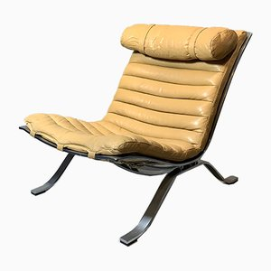 Vintage Scandinavian Beige Leather & Steel ARI Lounge Chair by Arne Norell for Arne Norell AB