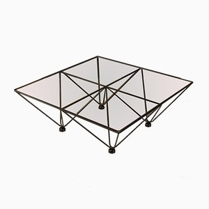 German Black Lacquered Steel & Glass Coffee Table, 1970s