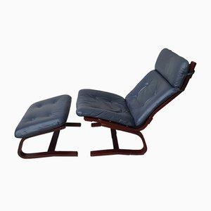 Skandinavischer Vintage Sessel & Fußhocker