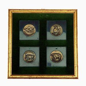 Bronze 4 Seasons Medaillen von Luciano Minguzzi, 1960er, 4er Set