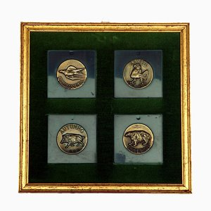 Bronze 4 Seasons Medals by Luciano Minguzzi, 1960s, Set of 4