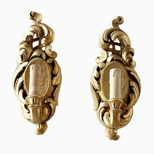 Italian Baroque Style Gilded Wood Sconces, 1940s, Set of 2