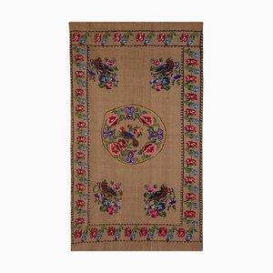 Turkish Aubusson Kilim Floral & Animal Pattern Rug