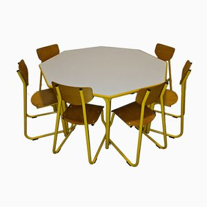 Mid-Century Children's Table & Chairs from Lista, Set of 7