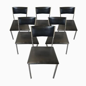 Chromed Steel & Black Leatherette Side Chairs, Set of 6, 1950s