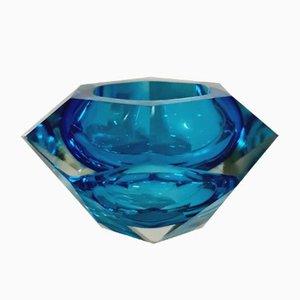 Blaue Mid-Century Kristallglas Schale, 1960er