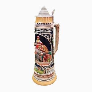 Deutscher Vintage Bierkrug aus Keramik
