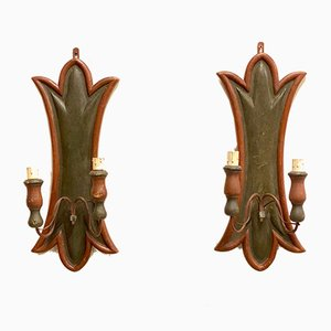 Vintage Wood Sconces, 1920s, Set of 2