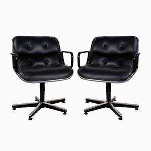 Black Leather Office Chair by Charles Pollock for Knoll Inc. / Knoll International, 1970s