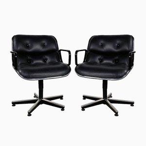 Sedia da ufficio in pelle nera di Charles Pollock per Knoll Inc. / Knoll International, anni '70
